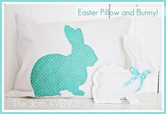 Easter pillow and bunny: