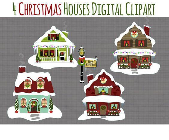 Christmas clip art snowy houses clipart holiday