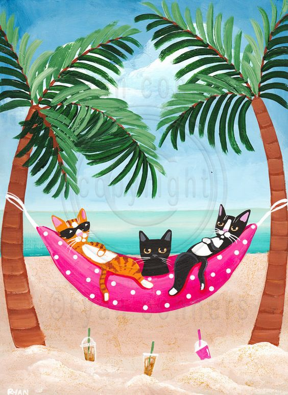 Beach Cats in Hammock Original Beach Cat Folk Art Painting by KilkennyCatArt