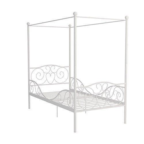 Dhp Canopy Bed With Sturdy Bed Frame Metal Twin Size White