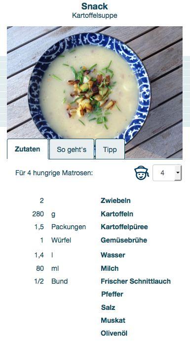 Dinner4sea Rezepte - Mengenangaben werden für die Anzahl der hungrigen Matrosen berechnet...