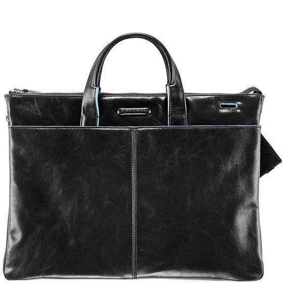 Piquadro Blue Square Erweiterbare, schmale Kurzgrifftasche mit doppeltem Fach black