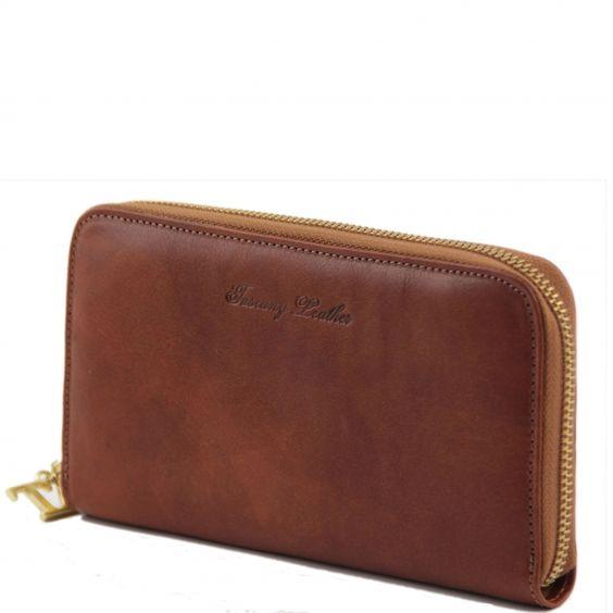 Exklusive leder Akkordeon Geldbörse mit Reissverschluss - TL141206 - Tuscany Leather