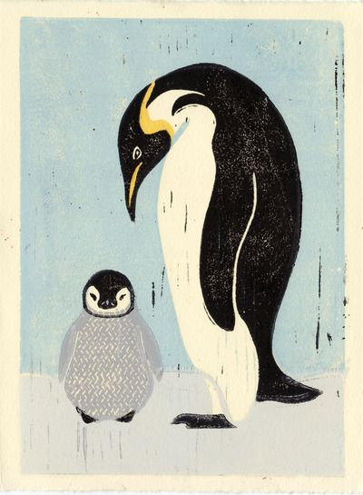 Penguins Original Hand Pulled 5 X 7 Linocut Illustration Art Print Arctic Nursery Black And White Mother And Baby From Anna See Tierillustrationen Linolschnitt Linol