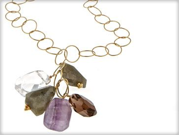 """Long Chain Cluster Necklace $84.00  This necklace is so much fun!  The gold chain pops, and the colorful cluster of labadorite, amethyst and rock cystal stones are the perfect touch.  14K gold plated chain measures thirty inches around the neck.   Want to pick your own color stones, no problem. At checkout under """"comments"""" please specify what color stones you would like from the picture to the left."""