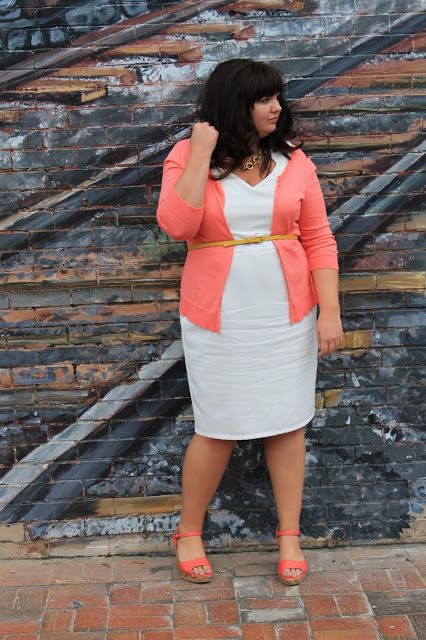 Like the coral and white :) Hems for Her Trendy Plus Size Fashion for Women: April 2012