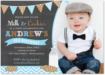 Milk + Cookies Chalkboard Boy First Birthday Invitations - with ...