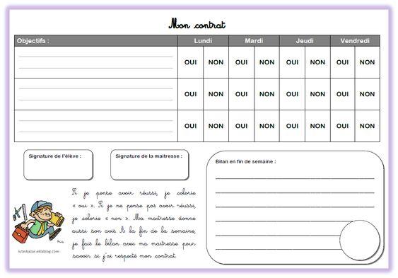 Outils Pour La Classe Page 4 Chez Lutin Bazar Contrat De Comportement Le Contrat De Travail Contrat