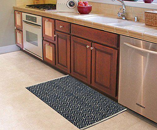 Chardin Home 100 Cotton Diamond Rug Fully Reversible M Https Www Amazon Com Dp B071zzcjkh R Kitchen Flooring Kitchen Mats Floor Memory Foam Kitchen Rug