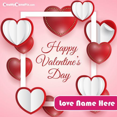 Romantic Feeling Valentines Day Name Greeting Card Photo Write