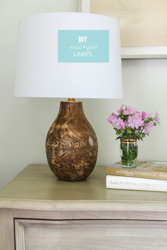DIY Wood and Gold Lamp as seen on The Today Show!  Read more - http://www.stylemepretty.com/living/2013/07/10/diy-wood-and-gold-lamp/