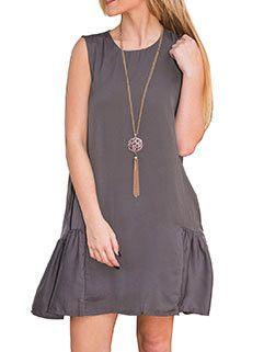 Stylish Loose-fitness Solid Sleeveless Dress