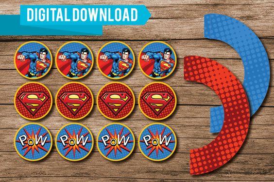 Superman//Cupcake Kit//Superman Party//Digital by WestOnDesignSt