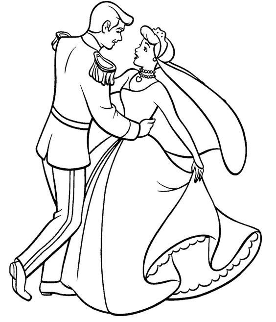 Cinderella Dance With Prince Coloring Page Pinterest