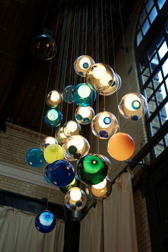 Bocci lights, so many different cool varieties. Very Cool: Modern Lighting, Glass Ball, Bocci Lights, Ball Chandeliers, Bocci Lighting, Pendant Lights, Colored Glass
