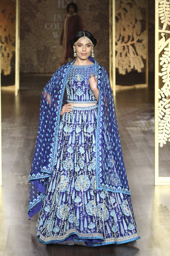 Indian Lehenga Choli Designs For Wedding Navy Blue by Anita Dongre