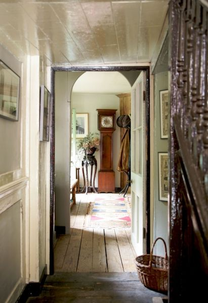 Grandfather clock this space the colors open staircase basket love love begins - Country cottage hallways ...