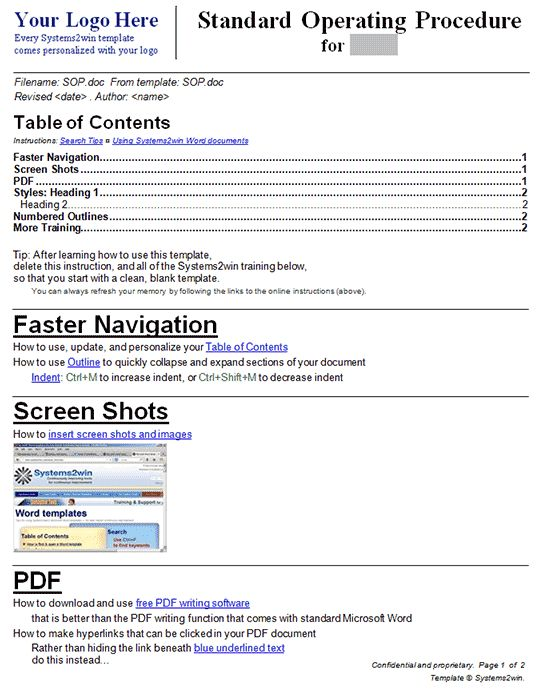 SOP Template SOP Template Pinterest Standard operating procedure - how to prepare a sop format