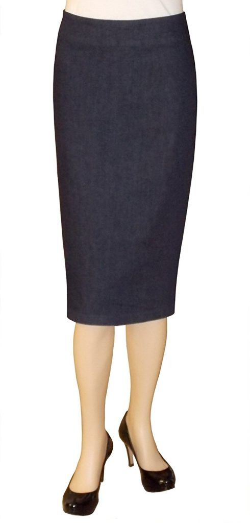 authorized site cute stable quality Baby'O Women's Below The Knee Stretch Denim Pencil Skirt ...