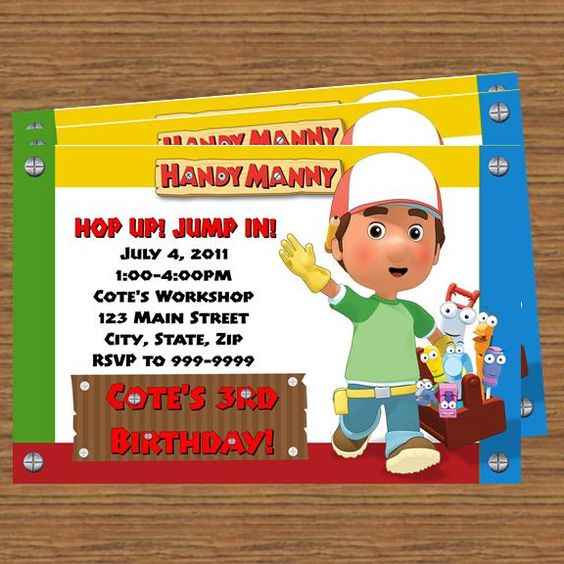 17 Best images about Mandy Birthday – Handy Manny Party Invitations