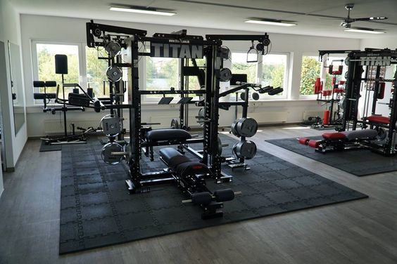 Home gym with two Titan gym equipments