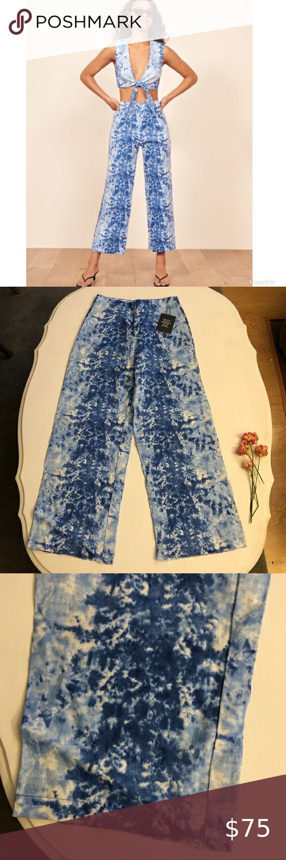 Nwt Reformation Fawn Two Piece Tie Dye Pants Tie Dye Pants Pants For Women Tie Dye [ 1692 x 564 Pixel ]