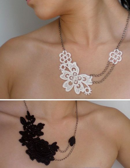 Lace necklace...another great DIY night project