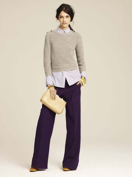 love the proportions of untucked buttoned-up blouse with wide-leg trousers