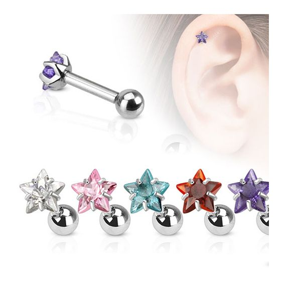 Star CZ Pronged Tragus/Cartilage Piercing Stud 316L Surgical Steel