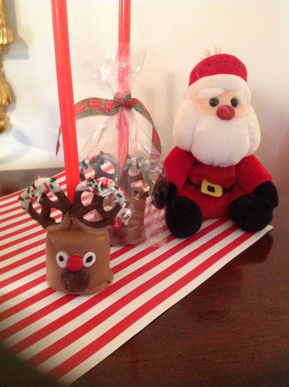 My reindeer pops I made from jumbo marshmallows. Stickes are milkshake straws