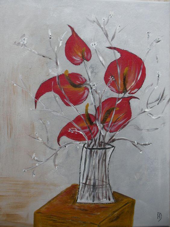 Tableau bouquet de fleurs exotiques rouges vendu for Bouquet exotique