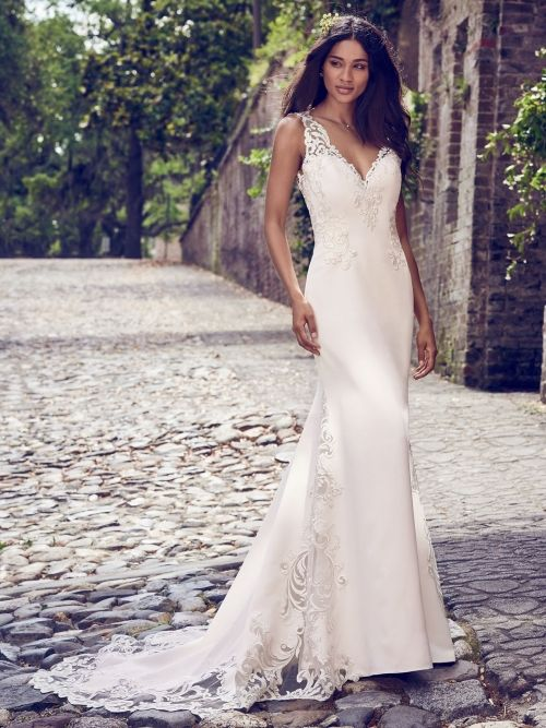 Fitted Wedding Dress From Fantasy Bridal Fitted V Neck Straps