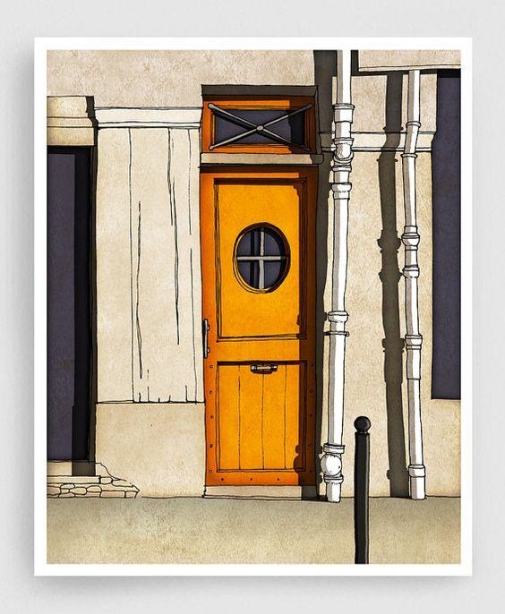 Porte secrète Paris illustration Giclee Art Print par tubidu