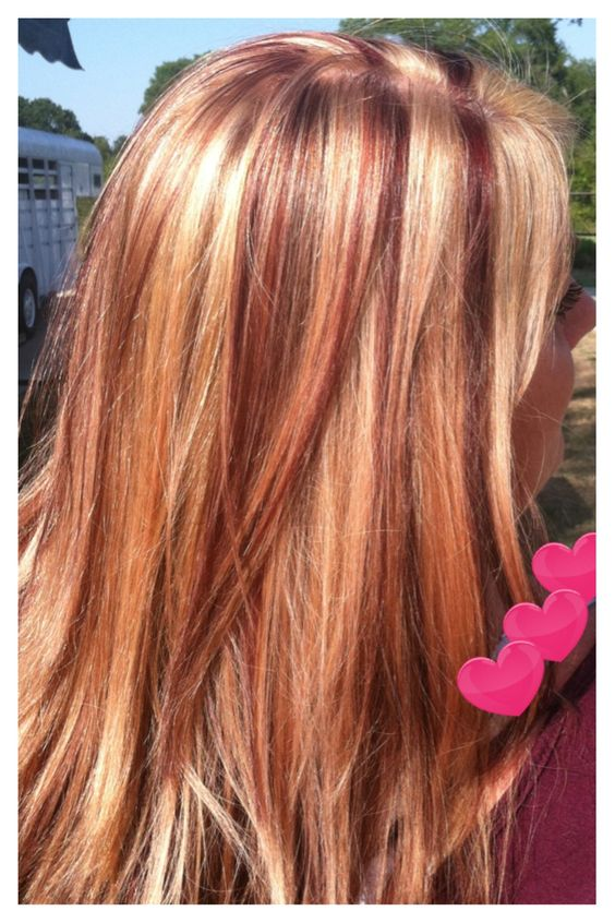 Purple And Blonde Highlights On Brown Strawberry Londe