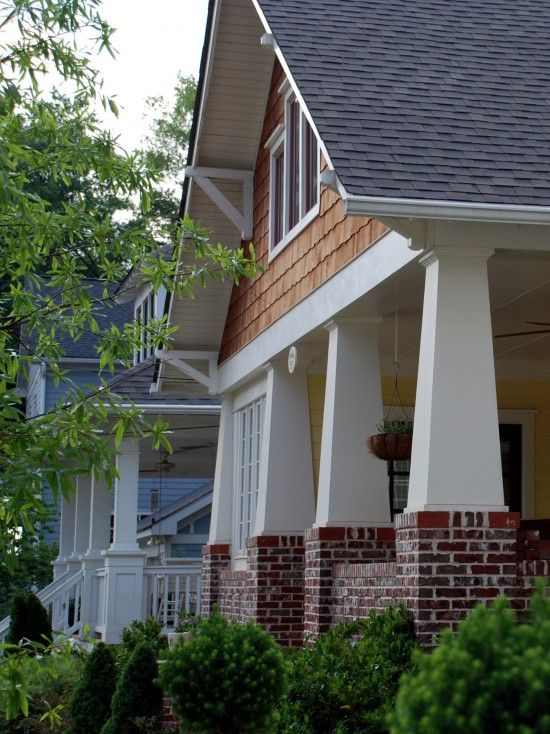 Craftsman exterior craftsman and columns on pinterest for Craftsman tapered columns