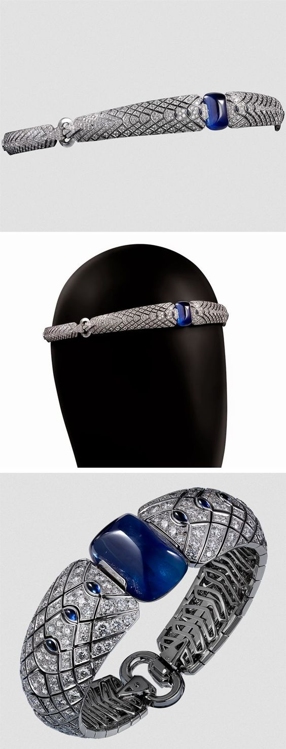 http:// Cartier Royal headband/bracelets, 18K white gold, one 45.83 carat cabochon-cut sapphire from Ceylon sapphires, rock crystal, diamonds. The headband can be worn as a b
