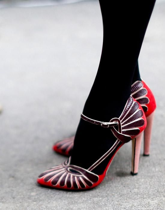 Spotted at: Milan Fashion Week Fall 2014  //The art deco design adds '20s charm to these pretty Mary Janes.: