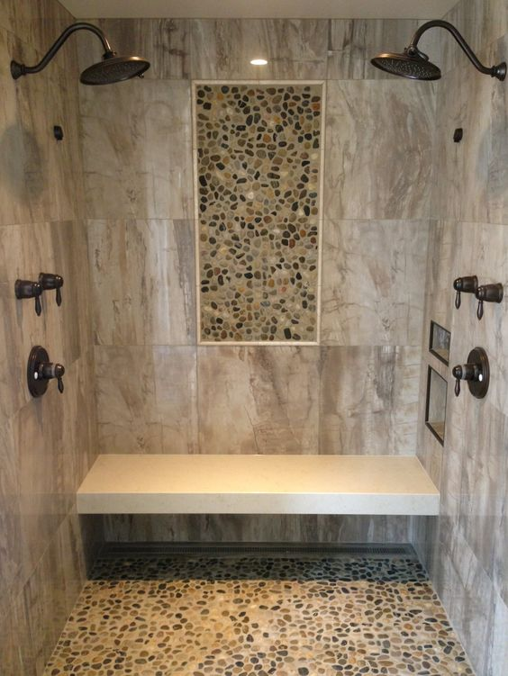 Barrier Free shower wall tile 24 x 24 porcelain tile Pebble Mosaic insert on walls and floor With Granite Bench