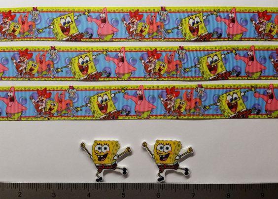 """2 Yds 1"""" Spongebob Squarepants   Inspired Grosgrain Ribbon and 2 Resin"""