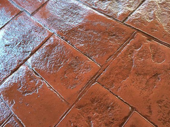 Pavimento de hormig n estampado en textura piedra for Hormigon impreso para interiores