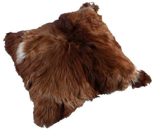 Alpacaandmore Brauner Alpaka Fellkissen Bezug Kopfkissenbezug 50 x 50 cm beidseitig Fell mit Reißverschluss