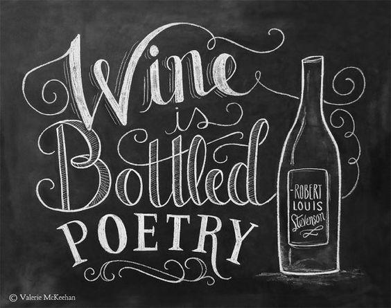 Gift for wine lover wine is bottled poetry wine art for Wine chalkboard art