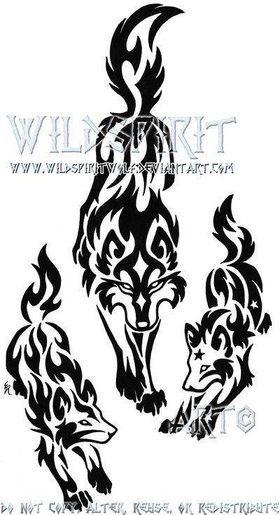 Tribal+Wolf+Mother+And+Pups+by+WildSpiritWolf.deviantart.com