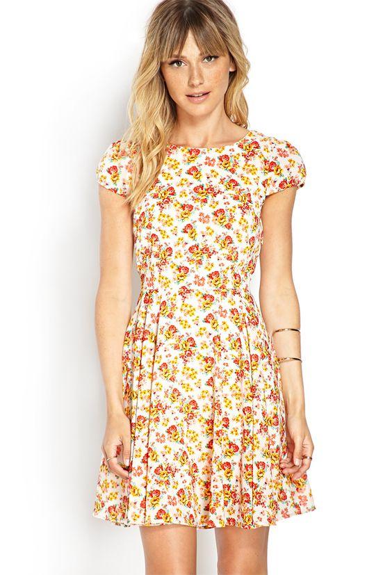 Rose Print V-Back Dress | LOVE21 - 2000063307