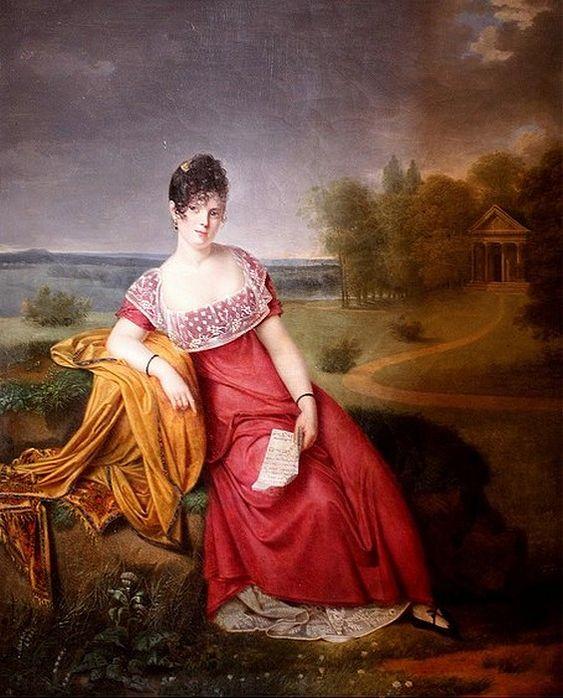 Portrait de femme dans un parc. Adèle de Romance Romany (French, 1769-1846). Oil on canvas. Adele de Romany studied under Jean Baptiste Regn...: