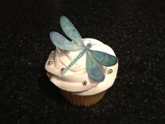 15 Edible Blue/Green wafer paper Dragonflies by Silvermisted