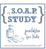 SOAP printable to use when studying verses. There are two sheets to a page, along with the S.O.A.P. acronym in case kids need a little reminder for the sections.