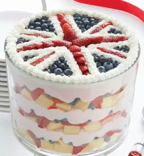 Imagen de England, fruit, dessert, flag, sweet, UK, pastel, fruta, bandera, Reino Unido, Gran Bretaña and cake