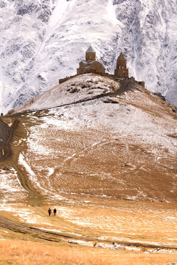 Gergeti Trinity Church, Georgia. Near the 16,512ft (5,033m) Mount Kazbegi in the Caucasus, this 14th-century church occupies the top of a hill and is accessible by trail as well as a rough jeep track.