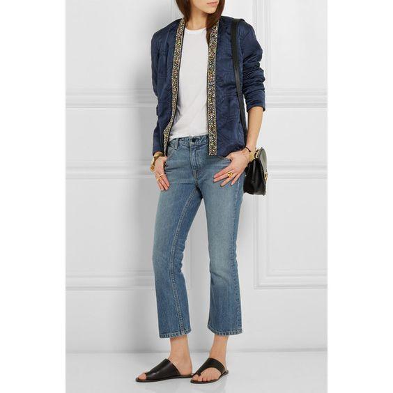 Isabel Marant Jasia embellished silk jacket (€1.770) ❤ liked on Polyvore featuring outerwear, jackets, embellished jacket, open front jacket, isabel marant, tailored jacket and blue jackets